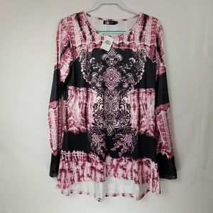 Mindful Souls Ladies Top Black and Pink Size XXL